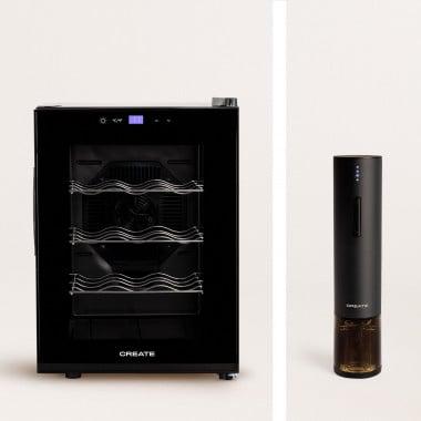 Acquista Pack - WINECOOLER M Cantinetta frigo elettrica per 12 bottiglie + cavatappi elettrico WINE TWIST